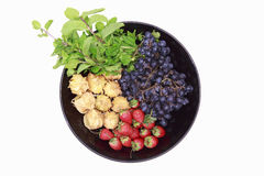Piatto di vista superiore della frutta e delle verdure Immagine Stock Libera da Diritti