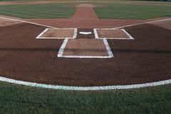 Piatto domestico di baseball con le linee di gesso fotografia stock libera da diritti