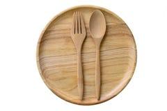 Piatto e cucchiai e forchette di legno vuoti Fotografia Stock Libera da Diritti