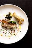 Piatto gastronomico dell'aperitivo della pancia di carne di maiale Fotografie Stock
