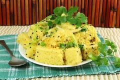 Piatto indiano degli alimenti a rapida preparazione dello spuntino di gujrati di dhokla di Khaman Immagini Stock Libere da Diritti