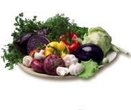 Piatto isolato con l'alimento delle verdure Immagini Stock Libere da Diritti