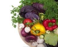 Piatto isolato con l'alimento delle verdure Fotografie Stock