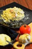 Piatto italiano di carbonara degli spaghetti Fotografia Stock Libera da Diritti