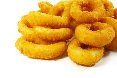 Piatto laterale popolare degli alimenti a rapida preparazione degli anelli di cipolla Fotografia Stock
