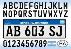 Piatto, lettere, numeri e simboli del libretto di circolazione dell'Argentina royalty illustrazione gratis
