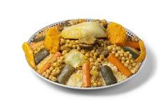 Piatto marocchino del cuscus Fotografie Stock Libere da Diritti