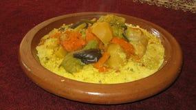Piatto marocchino del cuscus Fotografie Stock