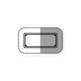 Piatto metallico dell'autoadesivo punteggiato siluetta grigia Immagine Stock
