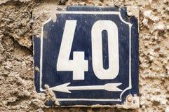 Piatto numero smaltato stagionato 40 Fotografia Stock