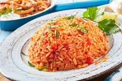Piatto nutriente sano del riso greco del pomodoro fotografia stock