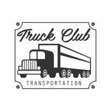 Piatto quadrato con il modello di Logo Black And White Design del club di Nails Trucks Company Pesanti Fotografie Stock Libere da Diritti