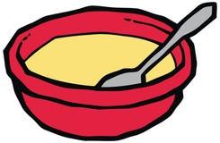 Piatto rosso con l'illustrazione di vettore del cucchiaio illustrazione di stock