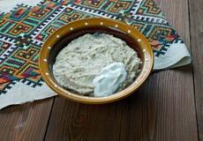 Piatto russo della farina d'avena Fotografia Stock