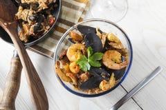 Piatto rustico di estate del riso dei frutti di mare portugese della paella di Arroz de marisco Fotografie Stock
