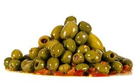 Piatto sano delle olive in olio Fotografia Stock Libera da Diritti
