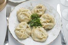 Piatto tradizionale dell'Uzbeco e del kazakh - manti Immagine Stock Libera da Diritti