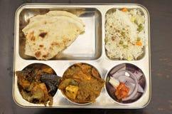 Piatto vegetariano dell'alimento indiano fotografia stock