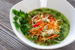 Piatto vegetariano Minestra del cavolo verde del vegano fatta da cabb cinese fotografia stock