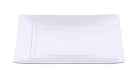 Piatto vuoto bianco isolato su fondo bianco Percorso di ritaglio dentro Fotografia Stock Libera da Diritti