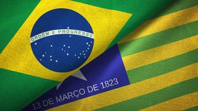 Piaui state and Brazil flags textile cloth, fabric texture. Piaui state and Brazil folded flags together stock illustration