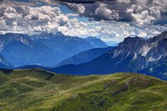 Piave river valley with Friuli and Sexten Dolomites, Italy Royalty Free Stock Image