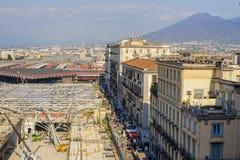 Piaza Garibaldi in Naples. Reconstruction on piaza Garibaldi, Naples, Italy, Europe Stock Images