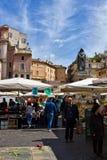 Piazza园地di Fiori,罗马,意大利 免版税库存图片
