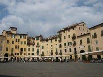 The Piazza Anfiteatro - Lucca stock photos