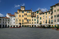 Piazza Anfiteatro of Lucca royalty free stock photo