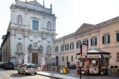 Piazza Arturo Benedetti Michelangeli w Brescia obrazy royalty free