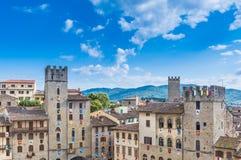 Piazza av Arezzo Arkivfoton