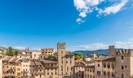 Piazza av Arezzo Arkivfoto
