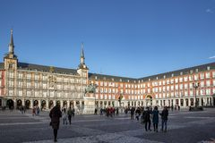 Piazza-Bürgermeister in Madrid, Spanien Piazza-Bürgermeister ist ein zentraler Platz in Madrid stockfotografie