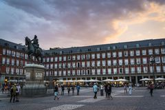 Piazza-Bürgermeister, Madrid, Spanien stockfotografie