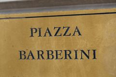 Piazza Barberini street name sign, Rome, Italy. Piazza Barberini street name sign. Piazza Barberini is a large piazza in the centro storico or city center of royalty free stock photography