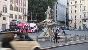 Piazza Barberini and the Triton Fountain stock footage