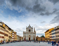 Piazza and Basilica Santa Croce in Florence Royalty Free Stock Photography