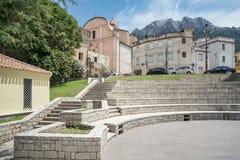 Piazza Berlinguer blisko Corso Vittorio Emanuele II, piazza Moro Miasto Oliena, Nuoro, Sardinia, Włochy, Europa zdjęcie stock