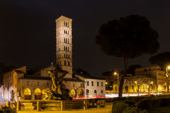 Piazza Bocca della Verita at night Stock Photo
