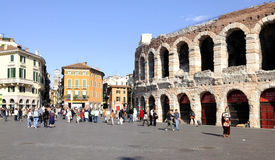 Piazza bra with the arena verona veneto italy europe Royalty Free Stock Image