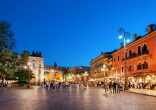 Piazza Bra in Verona (Italy) at evening Royalty Free Stock Photography