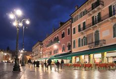 Piazza Bra in Verona at night Stock Photography