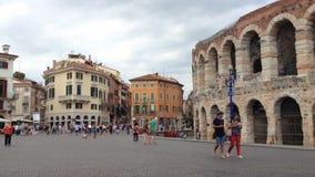Piazza Bustehouder in Verona stock footage