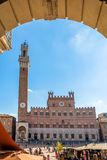Piazza Campo square and Mangia Tower, Siena, Italy Stock Photography