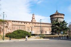 Piazza Castello dichtbij Vercellina-het Kasteel van Poortsforza royalty-vrije stock afbeeldingen