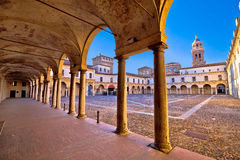 Piazza Castello in Mantova architecture view. European capital of culture and UNESCO world heritage site, Lombardy, Italy royalty free stock image