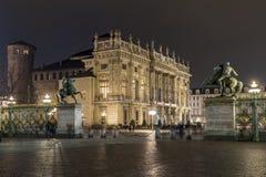 Piazza Castello Przy nocą, Turyn Włochy zdjęcie stock