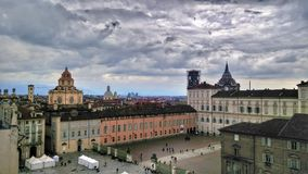 Piazza Castello in Turin and its old buildings. A great square in Italy with awesome buildings and churches stock photos