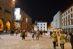 Piazza Cavour at night Stock Photo